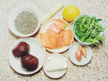 Salade lentilles saumon