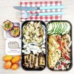 Bento légumes méditerranéen et omelette asiatique végétarienne